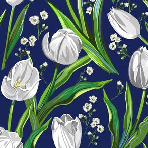 Big White Tulips + Babys Breath   Navy, Green