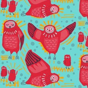 Owls_5 in fuchsia + glacier