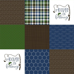 Hooked on fishing//World's Best Grandpa - Wholecloth Cheater Quilt