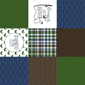 Hooked on fishing//World's best grandpa - Wholecloth Cheater Quilt - Rotated