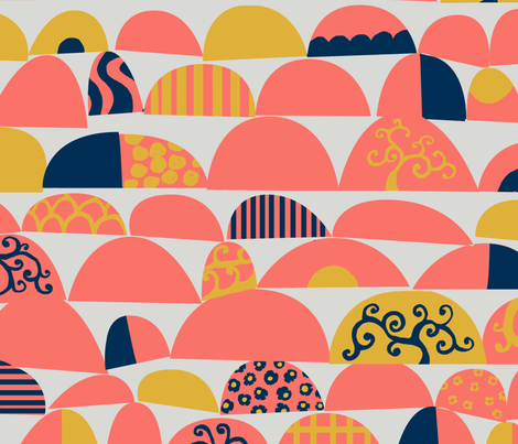 Coral Cheer fabric by litlnemo on Spoonflower - custom fabric