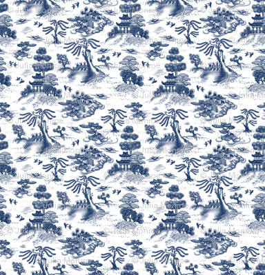 Mini Blue Willow Toile
