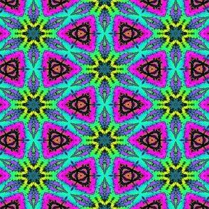 MINI FLOWER MANDALA STARS 5 FUCHSIA LIME PSYCHEDELIC BRIGHT PSMGE