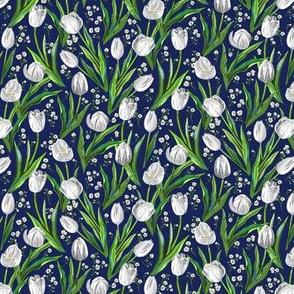 Tiny White Tulips + Babys Breath   Navy