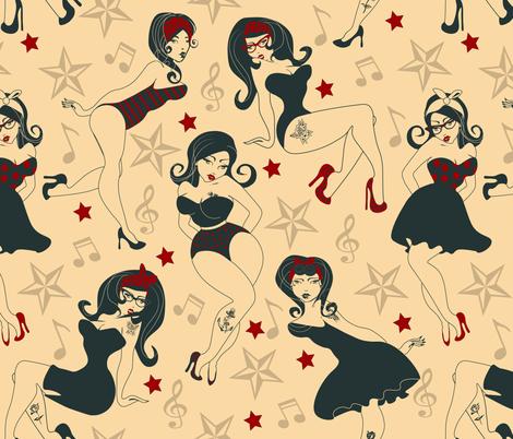 50's Pin-up fabric by miaya on Spoonflower - custom fabric