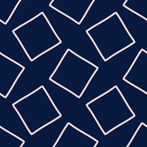 Thin Squares Pattern // Navy & Lt. Peachy Pink