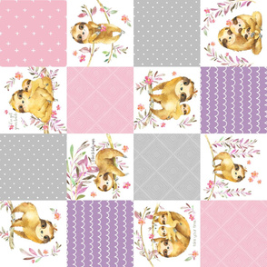 Cute Sloth Patchwork - Cheater Quilt, Blanket Baby Girl Bedding, Soft Gray Pink Purple ROTATED
