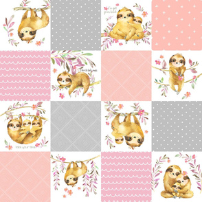 Sloth Cheater Quilt – Patchwork Blanket Baby Girl Bedding, Soft Gray Pink Peach
