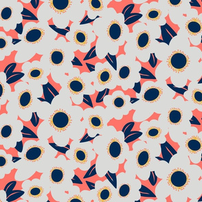 Limited Palette - Navy, Gray, Goldenrod, coral