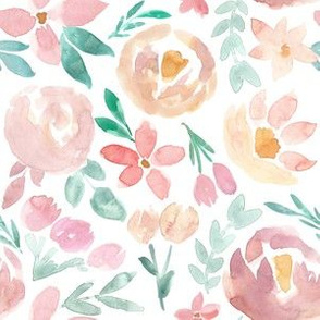 Easter Spring Soft Floral Watercolor