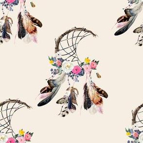 """8"""" Spring Boho Dreamcatcher Ivory"""