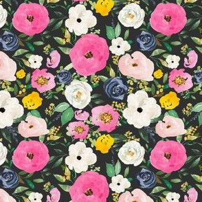 """4"""" Spring Boho Western Free Falling Florals Dark Grey"""