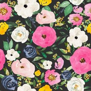 """8"""" Spring Boho Western Free Falling Florals Dark Grey"""