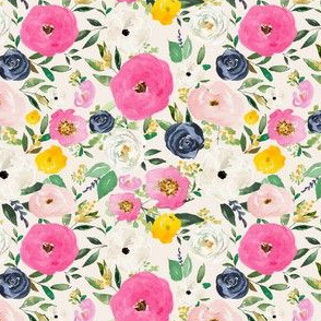 "4"" Spring Boho Western Free Falling Florals   Ivory"