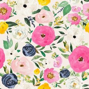 "8"" Spring Boho Western Free Falling Florals   Ivory"