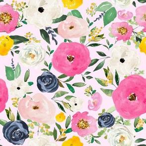 "8"" Spring Boho Western Free Falling Florals Light Pink"