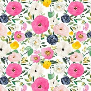"4"" Spring Boho Western Free Falling Florals White"