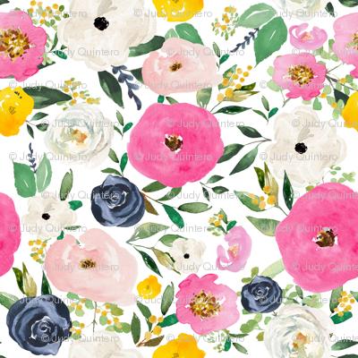 "8"" Spring Boho Western Free Falling Florals White"