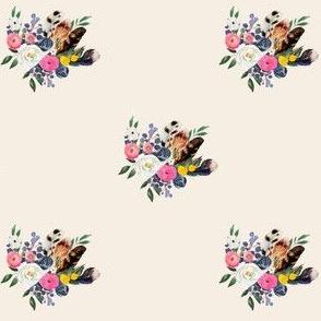 "4"" Spring Floral Boho Bouquet Ivory"
