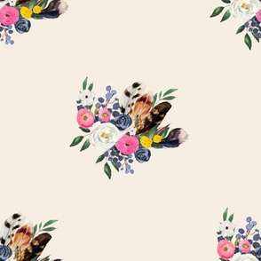 "8"" Spring Floral Boho Bouquet Ivory"