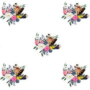 "4"" Spring Floral Boho Bouquet White"