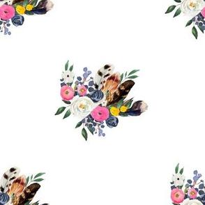 "8"" Spring Floral Boho Bouquet White"