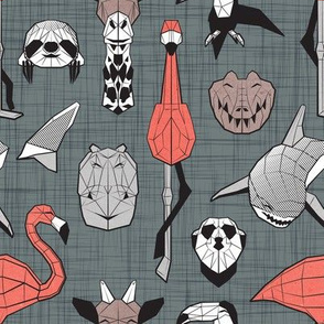 Summery Geometric Animals // small scale // green grey linen texture background black and white coral brown and grey flamingos hippos giraffes sharks crocs sloths meerkats and toucans