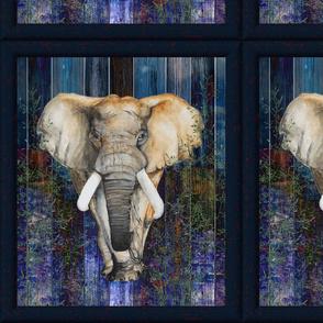 FRAMED ELEPHANT on wood panel NIGHT SAVANNAH