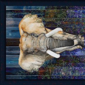 FRAMED ELEPHANT on wood panel NIGHT SAVANNAH HORIZONTAL