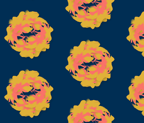 Cluster of coral in navy background fabric by samgrimm on Spoonflower - custom fabric