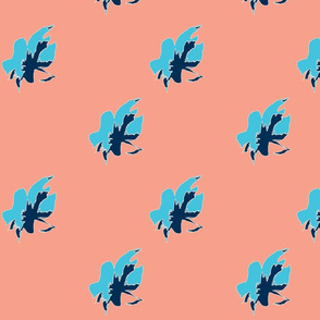 Blue Flowers in Coral Background