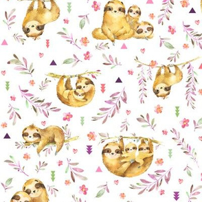 Sloths Hangin On– Children's Bedding Baby Girl Nursery, SMALL Scale
