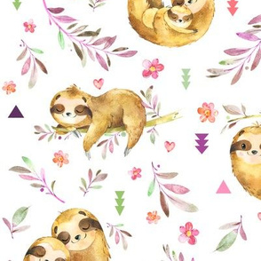 Sloths Hangin On– Children's Bedding Baby Girl Nursery, LARGE Scale