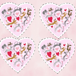 Pink hearts x4