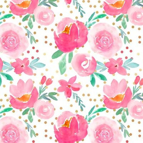 Valentines Day perfect pink confetti watercolor florals