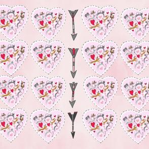 16 pink hearts