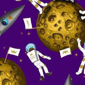 Princess Astronauts Girls on Moon Purple