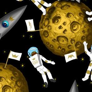 Princess Astronaut Girls on Moon Black