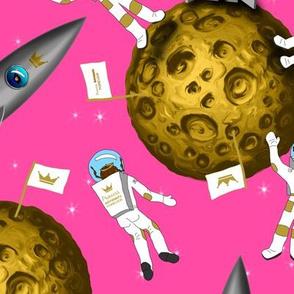 Princess Astronaut Girls on Moon Pink