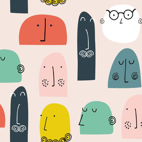 Faces abstract heads people mr men kids prints
