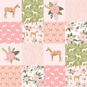 "horse quilt cheater quilt fabric - peach  palomino horse fabric, horse fabric, cheater quilt fabric - 6"" squares"
