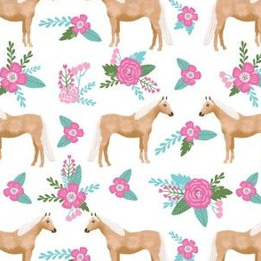 palomino horse floral fabric - cute floral fabric, horse fabric, feminine floral fabric, pink and aqua horse fabric - white