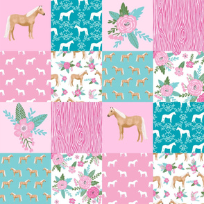 "horse quilt cheater quilt fabric - pink and teal, palomino horse fabric, horse fabric, cheater quilt fabric - 6"" squares"
