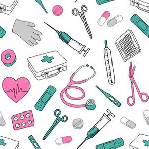 first aid fabric  - medecine, doctor, nurse fabric, professionals fabric, nurse fabric, fabric for nurses - pink and teal