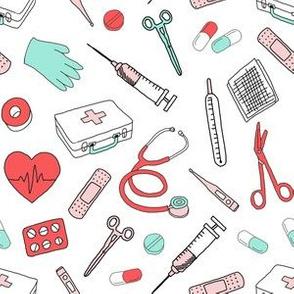 first aid fabric  - medicine, doctor, nurse fabric, professionals fabric, nurse fabric, fabric for nurses -  light