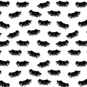 lashes fabric - makeup fabric, women fabric, painted fabric, black and white