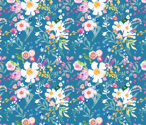 Portobello Floral (Cerulean) MED fabric by nouveau_bohemian on Spoonflower - custom fabric