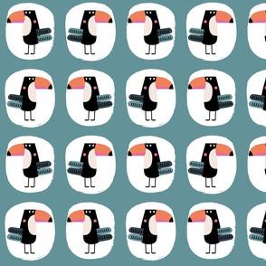 Toucan bird teal pattern