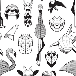 Summery Geometric Animals // jumbo large scale // white background black and white flamingos hippos giraffes sharks crocs sloths meerkats and toucans