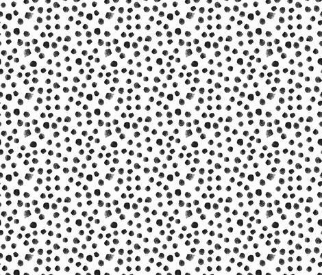 Noir watercolor dots || black and white brush strokes polka dot pattern fabric by katerinaizotova on Spoonflower - custom fabric